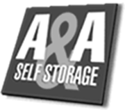 A & A Self Storage black and white logo