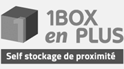 1Box en Plus black and white logo