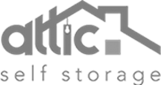 attic self storage black and white logo
