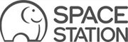space station black and white logo