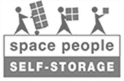 space people self-storage black and white logo